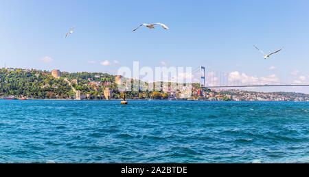 La vue sur le Bosphore, Rumelian Château et le pont, Istanbul, Turquie. Banque D'Images