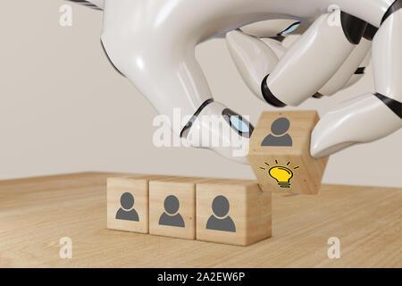 Le rendu 3d ai robot intelligent artificiel part retourner le cube de bois avec les droits de l'agent et avec ampoule idée créative et l'innovation, concept Banque D'Images