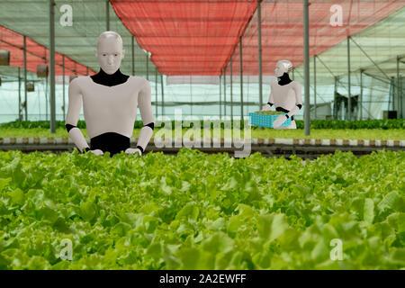 Ai rendu 3D robot intelligent artificiel travaillent dans l'agriculture, la ferme intelligente concept, pour accroître la productivité de travail du robot, de l'efficacité, la vitesse, le temps, Banque D'Images