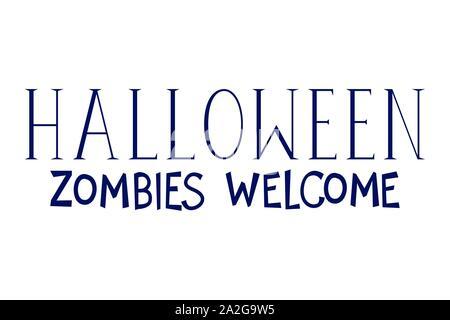 Zombies halloween Bienvenue Message de calligraphie Banque D'Images