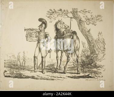 Le trompettiste de fusiliers, le 26 mars 1817, Carle Vernet, (Français, 1758-1836), imprimé par le comte Charles Philibert de Lasteyrie du Saillant (Français, 1759-1849), France, lithographie en noir sur vélin beige, 230 × 320 mm (image), 284 × 357 mm (feuille Banque D'Images