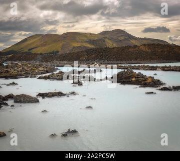 Lumière douce à Blue Lagoon, Islande Banque D'Images