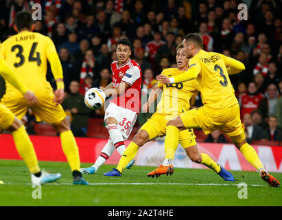 Londres, Royaume-Uni. 06Th Oct, 2019. Londres, Royaume-Uni, 03 octobre Gabriel Martinelli d'Arsenal marque son 2ème but au cours d'Europa League Groupe F entre Arsenal et Standard Liège au Emirates stadium, Londres, Angleterre le 03 octobre 2019. Action Crédit : Foto Sport/Alamy Live News Banque D'Images