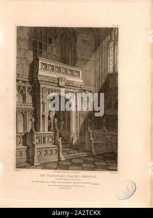 La chapelle Beauchamp: Warwick, vue de la porte d'entrée, Beauchamp, entrée Chapelle Collégiale de St Mary, Warwick, signé: C. del sauvages, Woolnoth, sc, publié par Longman & Co, fig. 6, Pl. III, p. 16, Wild, C. (del.); Woolnoth, William (sc.); Longman & Co., 1812 (publié), John Britton: Les antiquités architecturales de Grande-bretagne: représentés et illustré dans une série de vues, élévations, plans, coupes et détails de divers édifices anglais ancien: historique et descriptive avec comptes de chacune. Bd. 4. Londres: J. Taylor, 1807-1826 Banque D'Images