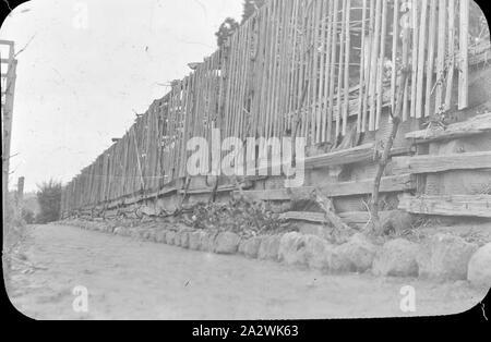 Diapositive - Vignoble, l'Australie, date inconnue, image en noir et blanc d'un remblai construit à côté d'un vignoble, photographié par A.J. Campbell Banque D'Images