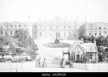 Négatif - Melbourne, Victoria, vers 1885, l'hôpital de Melbourne et jardins