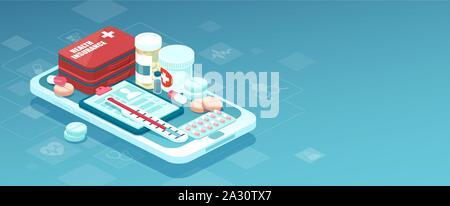 Pharmacie en ligne soins app concept. Vecteur de médicaments, trousse de premiers soins et de matériel médical vendu en ligne via l'application smartphone