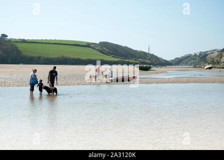 Estuaire Gannel rivière à marée basse à Newquay, North Cornwall, Angleterre du Sud-Ouest, Royaume-Uni