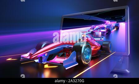 Vol de voiture de course hors de l'écran du portable. Race car sans nom de marque est conçu et modélisé par moi-même. 3D illustration Banque D'Images