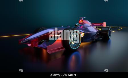 L'accélération de voiture de course le long de la route. Race car sans nom de marque est conçu et modélisé par moi-même. 3D illustration Banque D'Images