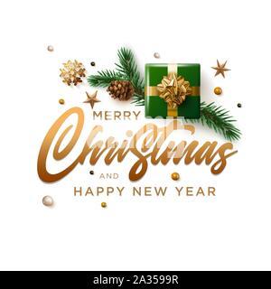 Joyeux Noël et Nouvel An carte de souhaits design. Vector illustration. Les éléments sont séparément en couches en fichier vectoriel. Banque D'Images