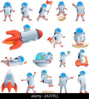 Les icônes de l'astronaute. Cartoon vector icons set de l'astronaute pour le web design Banque D'Images