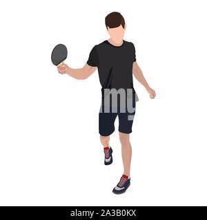 Raquette de tennis de table avec dvd, télévision vecteur illustration isolé Banque D'Images