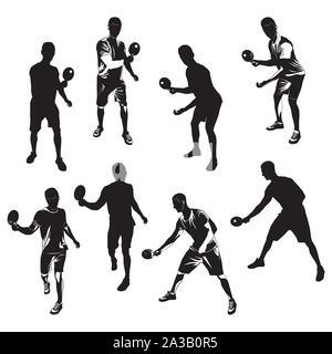 Joueur de tennis de table set silhouette noire, vector illustration Banque D'Images