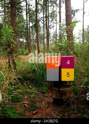 Panneau en bois mile marker sur une piste de jogging randonnée dans une forêt Banque D'Images