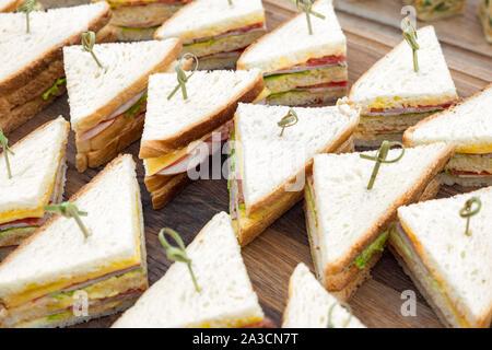 La cuisine restauration Buffet gastronomique culinaire. De délicieux repas, restauration de saison. Business lunch, collation. Menu de traiteur. Arrière-plan de toasties. Bac Sandwich Banque D'Images