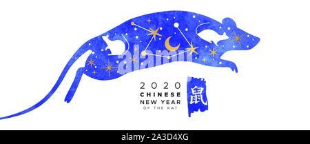 Le Nouvel An chinois 2020 banner illustration de l'aquarelle bleue avec des animaux de la souris d'or moderne doodle astrologie d'icônes. Traduction de calligraphie: rat Banque D'Images