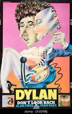 Ne pas regarder en arrière à partir de 1967 de l'Affiche du film Leacock-Pennebaker avec Bob Dylan et Joan Baez Banque D'Images