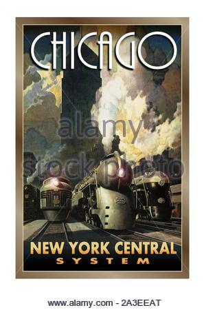 Vintage travel poster - Chicago-New York Central Banque D'Images