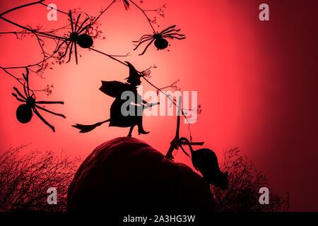 Sorcière vole sur le Sabbat. La mode créative avec un arrière-plan Halloween sorcière volant d'ossature et les araignées d'un gradient de lumière au néon rouge, copy space Banque D'Images