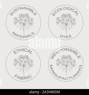 Ensemble d'icônes vectorielles linéaires liées au développement durable de l'éco-fabrication de tissus