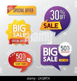 Jeu de poinçons d'offre commerciale lettrage vente Banque D'Images