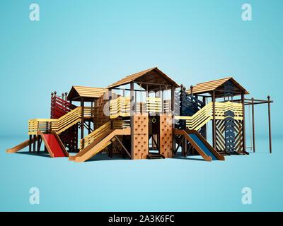 Aire de jeux moderne pour les enfants et adolescents de l'arbre avec des murs d'escalade pour enfants plage de rendu 3d animation sur fond bleu avec SHA Banque D'Images