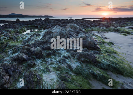 Cinq Doigts Strand, Trawbreaga Bay et Dunaff Head de soldats Hill, péninsule d'Inishowen, Co Donegal, Irlande Banque D'Images