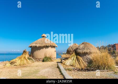 Eco Village andin, musée à Huatajata, village au bord du Lac Titicaca, La Paz, Bolivie, Amérique Latine