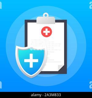 L'assurance-santé. La protection médicale, l'assurance médicale des concepts. Modèle plat. Stock Vector illustration Banque D'Images