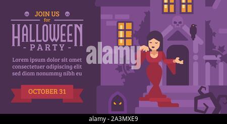 Flyer Halloween avec une femme dans une robe rouge dans une maison hantée Banque D'Images
