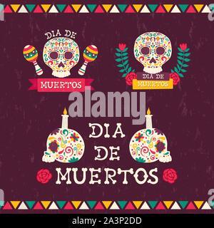 Le Jour des morts les devis établis pour l'événement traditionnel mexicain. Crânes de sucre fête avec des bougies, fleurs et maison de texte. Banque D'Images