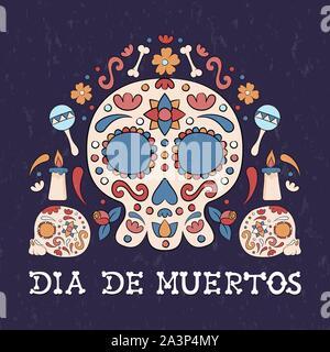 Le Jour des morts mexicain traditionnel, carte de vœux, crâne en sucre, bougies et fleurs illustration pour le mexique maison de l'événement. Banque D'Images