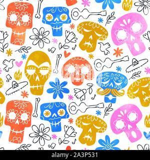 Le Jour des morts crâne motif transparent, funny smileys squelette d'aquarelle et de la culture mexicaines colorées en arrière-plan l'icône. Banque D'Images