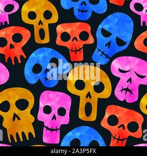 Aquarelle de couleur transparente, motif crâne émoticône funny cartoon squelette visage pour le Jour des morts ou d'halloween de l'arrière-plan. Banque D'Images