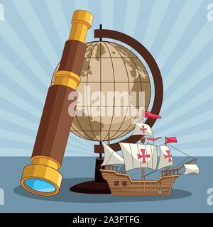 Globe terrestre vintage et design lorgnette Banque D'Images