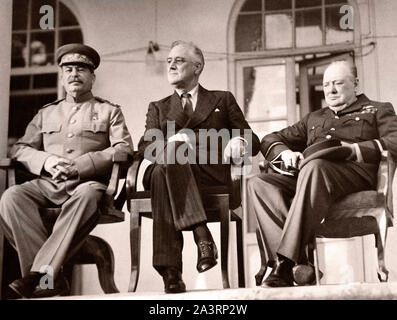 La Conférence de Téhéran (nom de Eureka) a été une réunion de stratégie de Joseph Staline, Franklin D. Roosevelt et Winston Churchill, du 28 novembre au 1 D Banque D'Images