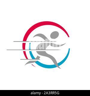 Résumé Les personnes en bonne santé de l'homme courant logo design éléments de vecteur illustrations Banque D'Images