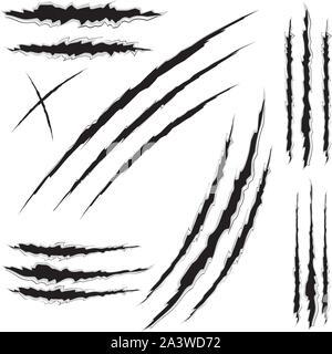 Griffe de chat jeu de marques de rayures sur fond blanc. Banque D'Images