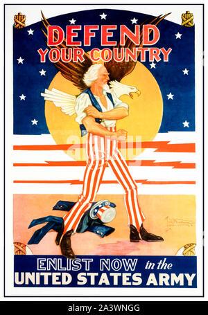 Nous, américains, WW2, affiche de recrutement, de défendre votre pays, s'enrôler dans l'armée des Etats-Unis, (Oncle Sam retrousser les manches), 1941-1945 Banque D'Images