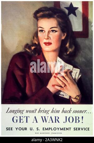 Nous, américains, WW2, femme, travail de guerre, affiche, obtenir un emploi, 1941-1945 La guerre! Banque D'Images