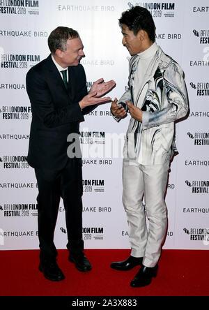 Wash Westmoreland (à gauche) et Naoki Kobayashi fréquentant le séisme Première mondiale des oiseaux dans le cadre de la BFI London Film Festival 2019 s'est tenue à la vue Cinema, Londres.