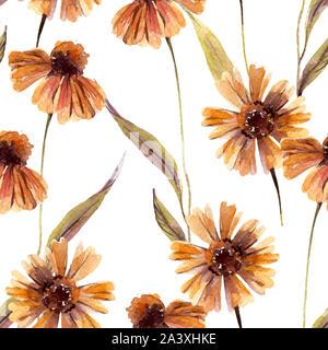 Abstract floral seamless pattern. Aquarelle fleurs de camomille, feuilles de fond. L'illustration de l'automne peint à la main, tissu, textile desi d'enrubannage