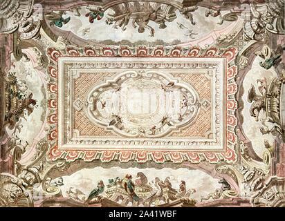 """Conception pour une peinture au plafond, Pays-Bas, (1928). """"Début du 18ème siècle...Daniel Marot [1661-1752] né à Paris, a dû fuir à Amsterdam en 1685 en raison de la révocation de l'Édit de Nantes. Il a travaillé là jusqu'après 1718. En 1686, il est nommé architecte de William III d'Orange et a travaillé plus tard en Angleterre. Après environ 1700 son modèle-livres ont été publiés et sont d'une grande influence"""". Après une aquarelle dessin au crayon et à l'encre. XCIV, fig 187 plaque, à partir de """"une encyclopédie de couleur Décoration depuis les premiers temps jusqu'au milieu du xixème siècle"""" avec explanator Banque D'Images"""