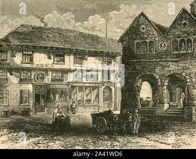 """'Chambre de """"l'homme de Ross""""', 1898. Maison de John Kyrle (1637-1724), connu comme """"l'homme de Ross"""" Anglais philanthrope qui a hérité du domaine familial dont une chambre donnant sur le marché à Ross-on-Wye dans le Herefordshire. À partir de """"notre propre pays, Volume II"""". [Cassell et Company, Limited, Londres, Paris &AMP; Melbourne, 1898]"""