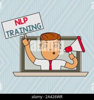 L'écriture de texte Word formation PNL. Photo d'affaires mettant en valeur l'étude de la structure de l'expérience subjective d'un homme parlant à travers la démonstration Banque D'Images