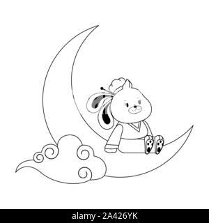 Lapin de dessin animé sur la lune, modèle plat