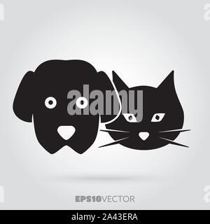 Chien et chat fait face à l'icône de glyphe. Animaux mignon petit symbole. Vecteur EPS noir solide 10 animaux. Banque D'Images