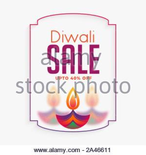 Creative happy diwali vente bannière avec diya colorés Banque D'Images