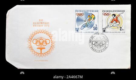 Premier jour Lettre, imprimé par la Tchécoslovaquie, avec timbres-poste annulé que promouvoir des Jeux Olympiques de Munich, vers 1972. Banque D'Images